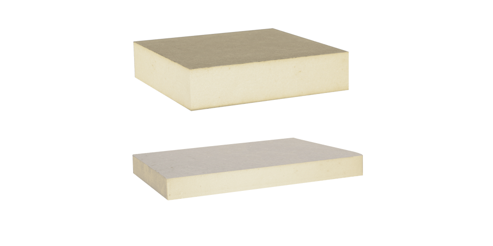 Image showing two polyisocyanurate panels; one with an organic fibreglass-reinforced coating and the other with a polymer-compound fibreglass layer.