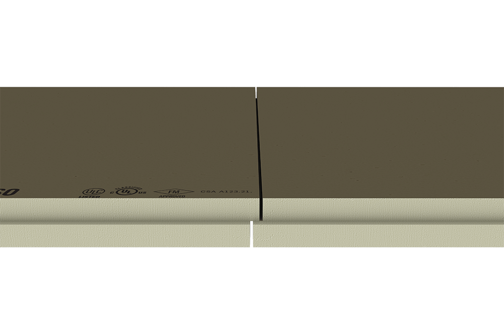 Image showing polyisocyanurate insulation panels with shiplap edges.