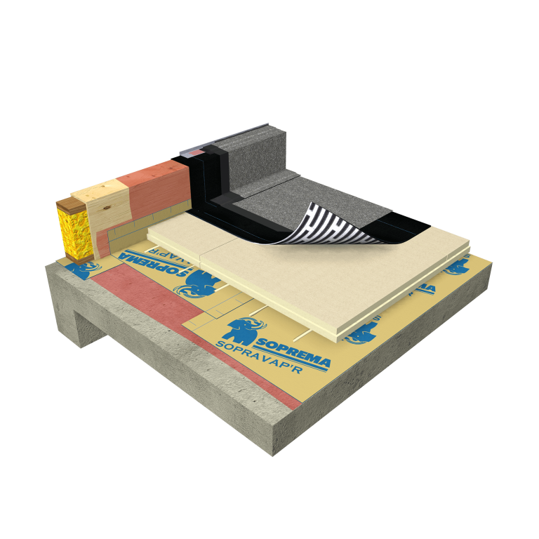 Image showing a commercial roof system with polyisocyanurate insulation panels and a semi-independent underlayment membrane.