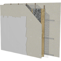 Image showing an interior wall system with cellulose insulation.