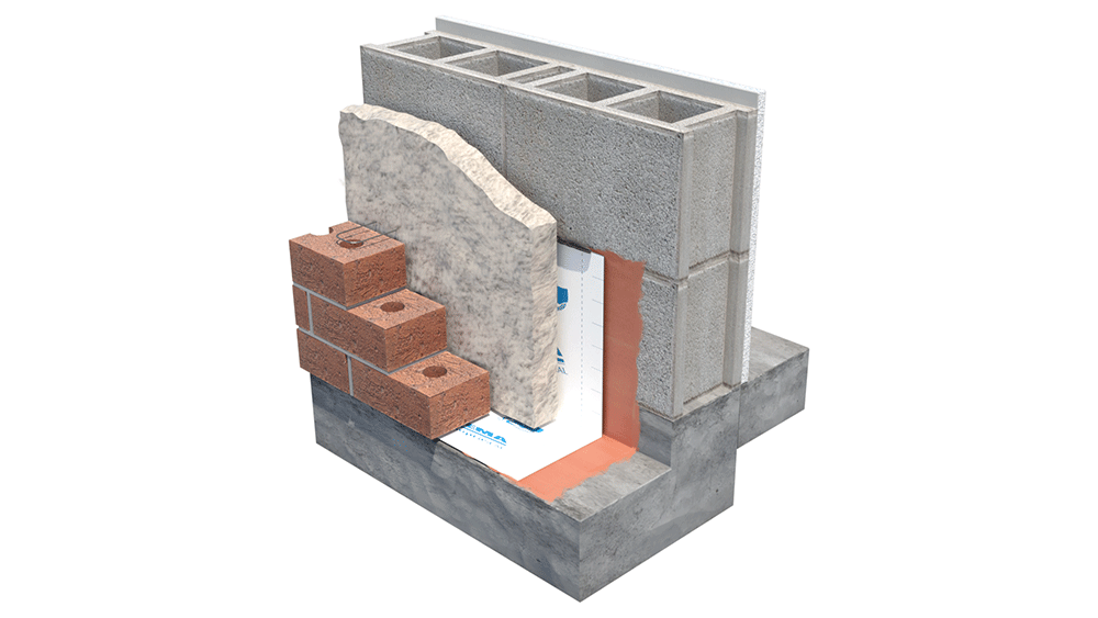 Image showing a wall system with polyurethane continuous insulation on concrete blocks.
