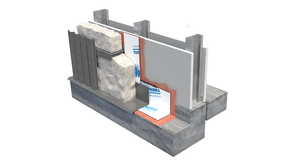 Image showing a wall system with polyurethane continuous insulation on steel studs.
