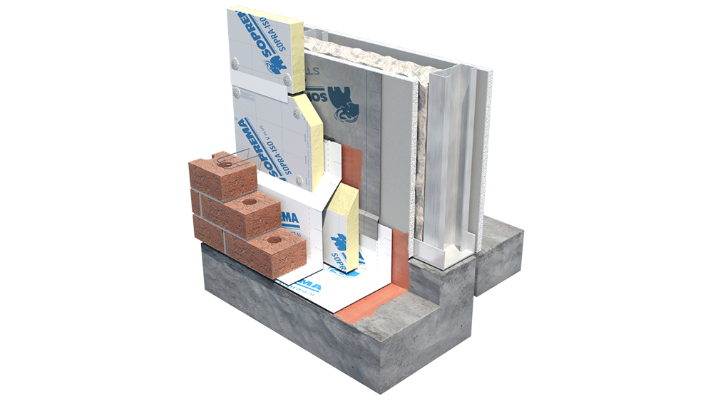 Image showing a hybrid wall system with polyurethane insulation on steel studs.