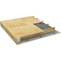 Image showing a ceiling or a floor system with cellulose insulation.
