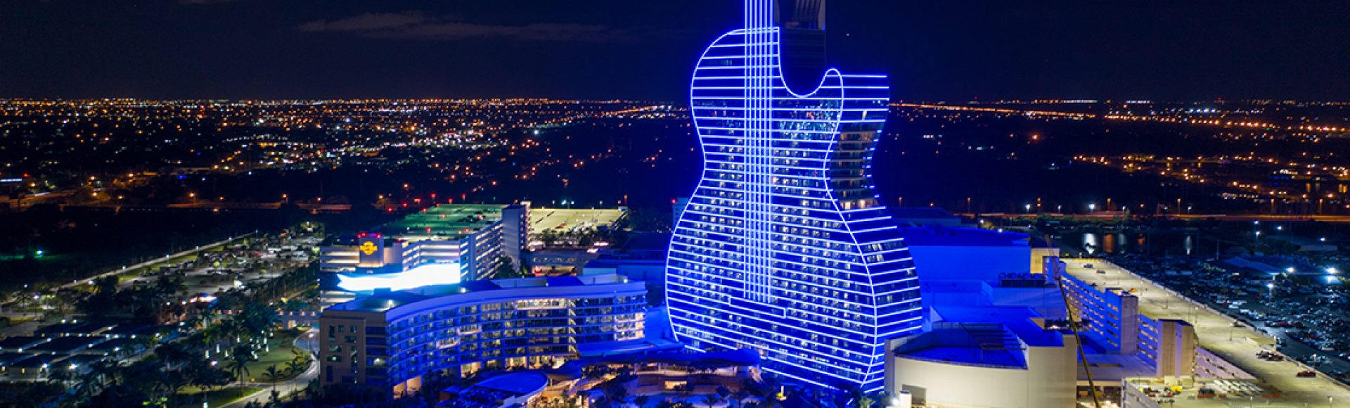 Aerial photo of the Seminole Hard rock casino guitar shaped hotel