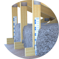 Image showing an attic system with cellulose insulation.