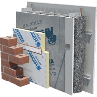 Image showing an exterior wall system with cellulose insulation.